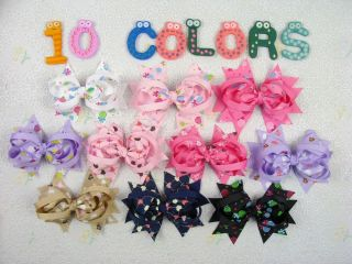 10 Baby Girl Cute Sweet Hearts Lollipops Printing Boutique Hair Bows 131 154
