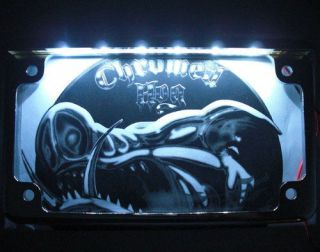 Chrome License Plate Frame w White LED Light Bar for Harley Motorcycle Lic Tag