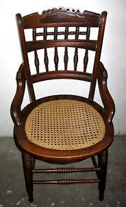 Antique 19th Century Victorian and Pre Civil War Era 1851 Wood Cane Chair