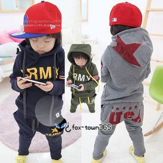 Autumn Boys Baby Child Baby Kids Army Star Hoodie Coat Trousers Sports Sets 2 7Y