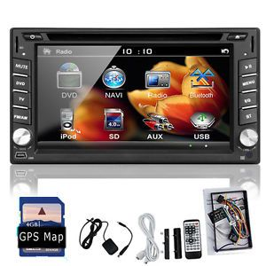 GPS Navigation 2 DIN Car Stereo DVD CD Player Bluetooth iPod TV USB SD Auto Map