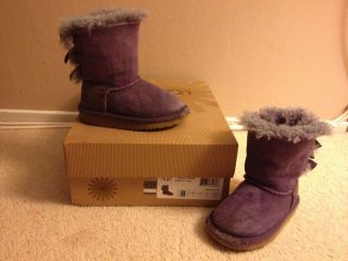 $120 Authentic UGG Australia Toddler Girls Bailey Bow Boots 3280T Petunia Purple