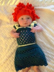 Crochet Disney Brave Baby Girl Newborn Outfit Dress Merida Cap Halloween Costume