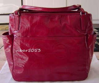 Coach Baby Bag Stitched Patent Leather Diaper Tote Bag 25141 $398