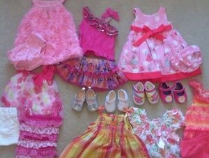 Baby Girl Clothing Lot Rompers Dresses Shorts Shoes Sz 0 3 3 6 Months Outfits