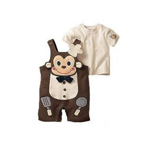 2pcs Baby Boy Toddler Girl Top Pants Overalls Romper Cook Monkey Outfit Clothes