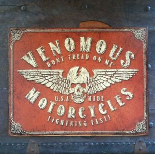 Venomous Motorcycles Metal Tin Man Cave Sign Norton Triumph Harley BSA Rat Rod