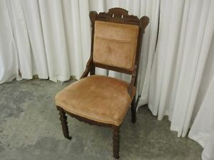 Velvet Antique Walnut Eastlake Style Crest Side Chair Stacking Block Style Legs
