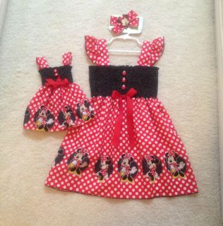 New Handmade Minnie Mouse Red w Dots Toddler Girls Dress Doll Dress Hair Bows