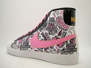 325064 162 Girls Youth Nike Blazer Mid White China Rose Black Del Sol