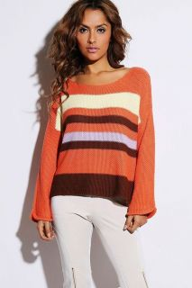 Baby Blue Pink Tangerine Orange Choco Women Sexy Striped Sweater Knit Top s M L