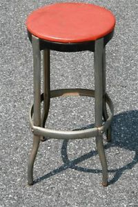 Vtg Industrial Cosco Stool Red Mid Century 50s 60s Steel Bar Chair Modern Metal