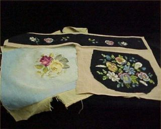 2 Vintage Needlepoint Canvas Shabby 40s Chic Black Antique Chair Seat Project