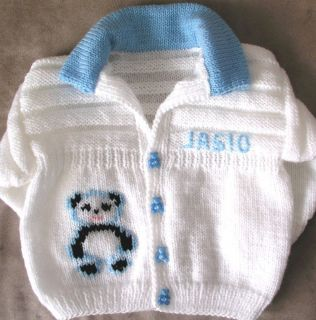 Boutique Personalised Gift Any Name Hand Knitted Baby Boy Girl Collar Cardigan