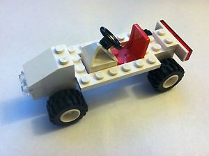 Lego Custom Car White Red Minifigure Vehicle Wheels Tires Project City Town