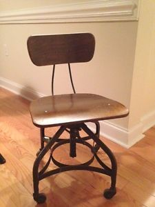 Vintage Toledo Uhl Industrial Drafting Stool Machine Age Adjustable Chair Steamp