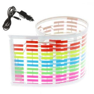 Car Music Sound Activated Sticker Equalizer Colourful LED Flash Light 45x11cm US
