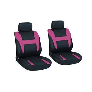 6 Piece Fushia Pink Black Basic Front Auto Van Seat Cover Set Bucket Chairs