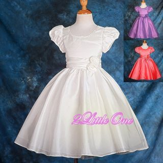 Wedding Flower Girls Short Sleeves Dresses Pageant Party Size 18M 7 165