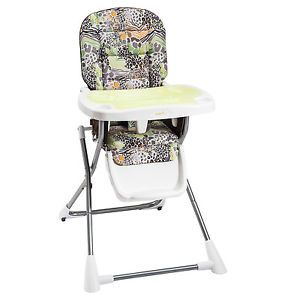 Evenflo Compact Fold High Chair with 3 Position Adjustable Tray Zoo Friends