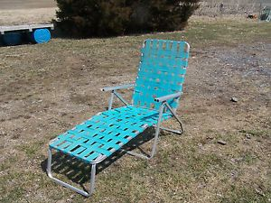 Vintage Aluminum Blue Green Teal Webbed Chaise Lounge Out Door Lawn Chair 2 2