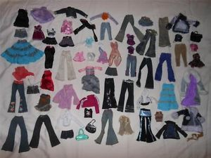 Lot of Bratz Doll Clothes Clothing Shirts Jeans Pants Dresses Skirts Shorts