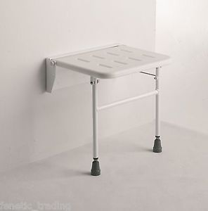 Wall Mounted Folding Shower Seat Chair Bench with Legs