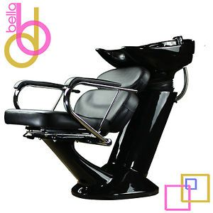 Shampoo Backwash Unit Bowl Chair Salon Spa Sink Equipment All Black