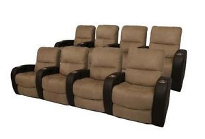 Seatcraft Catalina Home Theater Seating 8 Seats Brown Manual Chairs