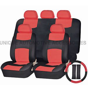 Ford Mustang PU Leather Red Black Semi Custom Seat Covers Bench 14 Pcs Set