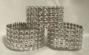 100 Silver Rhinestone Bling Wedding Napkin Rings or Chair Sash Decoration 5 Rows