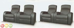 Cyrus Home Theater Seating Reclining Black Leather 4 Chairs w Cup Holders 600001