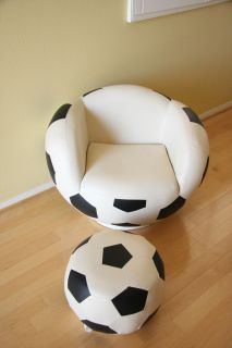 Kids Soccer Ball Chair with Foot Stool Adorable for The Little Soccer Star