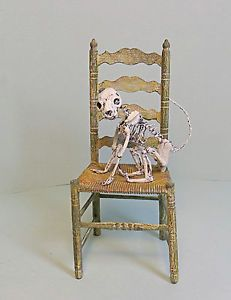 Dollhouse Miniature 1 12 Cat Skeleton on Chair Haunted House Witch Halloween
