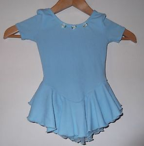 Girls Ballet Dance Gymnastics Leotard Baby Blue Size XS Small