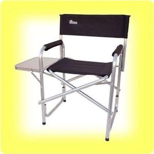 "Earth ""Extra Heavy Duty"" Folding Director's Chair w Side Table Steel Reinforce"