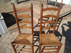 2 Antique Ladder Back Chairs with Original Rush Seats