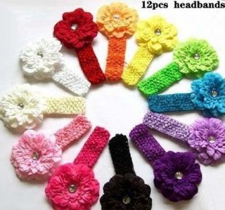 12pcs Peony Newborn Baby Girl Headband Hairband Hair Bow Flower Clip Headwear 1