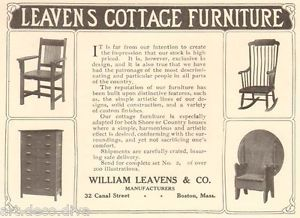 1910 Antique Leavens Cottage Furniture Rocking Chair Bench Table Art Crafts Ad