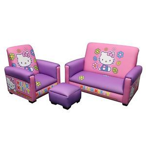 Hello Kitty Set Kids Girls Sofa Chair Ottoman Couch Toddler Bed Room Lot