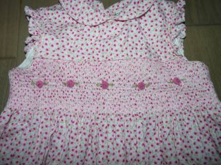 Laura Ashley Toddler Girls Pink White Floral Smocked Spring Dress 4T Easter