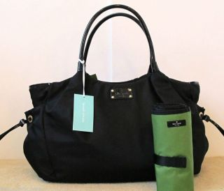 $398 Kate Spade Black Gift Receipt Nylon Stevie Baby Diaper Bag Purse