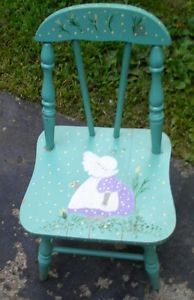 Antique Child's Wooden Hand Painted Light Blue Chair Sunbonnet Baby