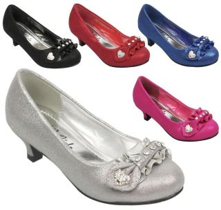 New Kids Girls Glitter Rhinestone Bow Dorothy Pump Low Kitten Heel Shoe Size 9 4