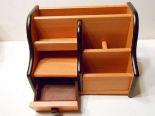 Wooden Desk Organizer with Pen Holder Letter Holder Drawer etc Cherry Color