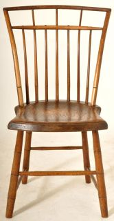 Antique American New England Federal Fan Back Painted Windsor Bamboo Chair 1820