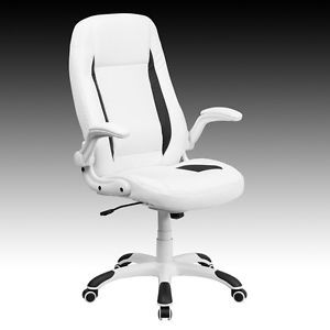 New Soft White Leather Highback Home Office Desk Task Chairs with Flip Up Arms