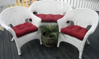 Indoor Outdoor Wicker Chair Cushion Set 3 Piece Choice of Solid Colors