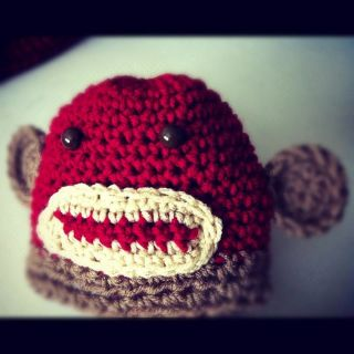 Sock Monkey Newborn Baby Boys Girls Crochet Beanie Hat Photo Prop Handmade New