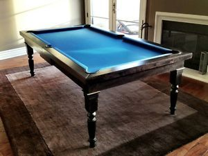 European Espresso Billiard Pool Table Dining Room Removable Top w Six 6 Chairs